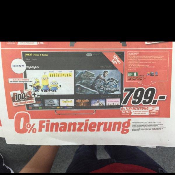 Sony 50w807 799€+ 100€ Gutschein, 900 HZ, Full HD, ANDROID TV, Media Markt Schweinfurt