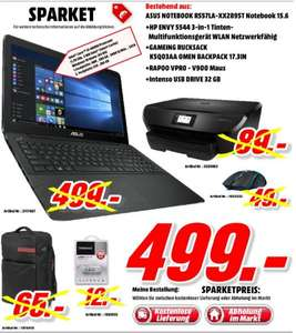 [Mediamarkt Porta Bundesweit] Asus R557LA-XX2895T Note­book 15,6x27x27 Core i3-4005U 756GB 8GB + HP Envy 5544 All-in-One Duplex USB ePrint Air­Print +Rapoo VPRO - V900 Maus +17.3 Zoll OMEN Gaming Ruck­sack + Intenso 32 GB USB Stick für 499,-€