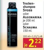 [Rossmann, KW16] Syoss Trockenschampoo -73% (Angebot + Coupon)