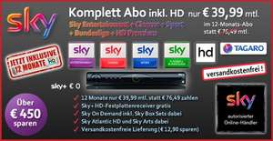 Sky komplett - Entertainment + alle 3 Pakete + Premium HD nur € 39,99 mtl.