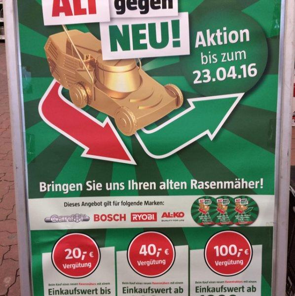 [Bauhaus Koblenz] Bis zu 100€ Rabatt beim Eintausch eines alten gegen einen neuen Rasenmäher