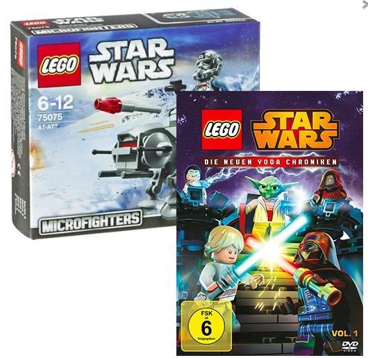 [real.de] DVD: Lego Star Wars: Die neuen Yoda Chroniken - Volume 1 + Lego Microfighter 75075 AT-AT für 12,99€ statt ca. 20€