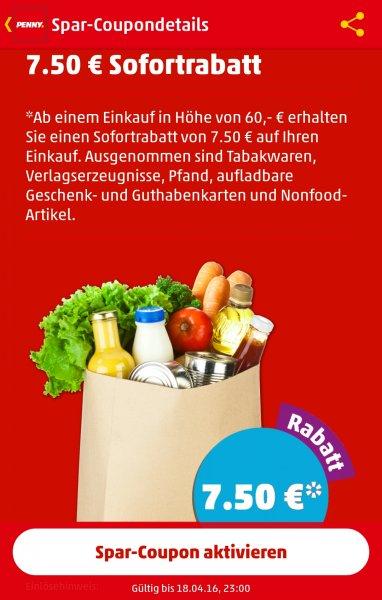 [PENNY App] 7,50€ Rabatt Sofortrabatt ab einem Einkaufswert von 60€