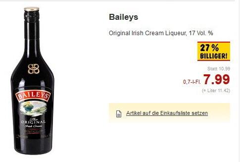 [Lokal Kaufland Herford evtl. Bundesweit] Baileys 0,7L für 7,99€ und Bombay Sapphire 0,7L 15,99€