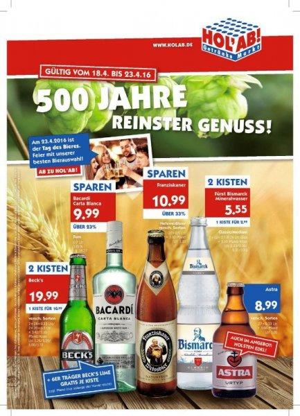 """""""Holx27 Ab"""" Getränkemarkt - 2 Kisten (2x24x0,33L oder 2x20x0,5L) Beckx27s Bier für 19,99 + Sixpack Beckx27s Lime Gratis! (Auch Weizen, Rum und Mineralwasser im Angebot!)"""