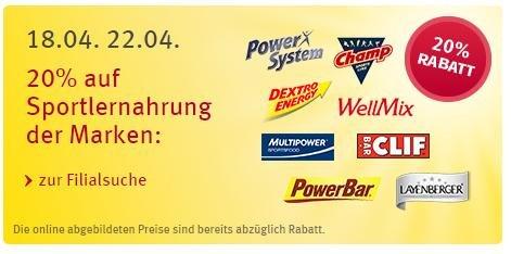 [Rossmann Bundesweit] 20% auf alle Sportlernahrung - PowerBar / PowerSystem / Wellmix / Layenberger Müsli / Mammut