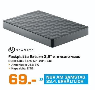 [Lokal Saturn Herford am 23.04] Seagate Expansion Portable, 2TB, externe Festplatte (STEA2000400) USB 3.0  für 69,-€*Ausbaubar für PS4**