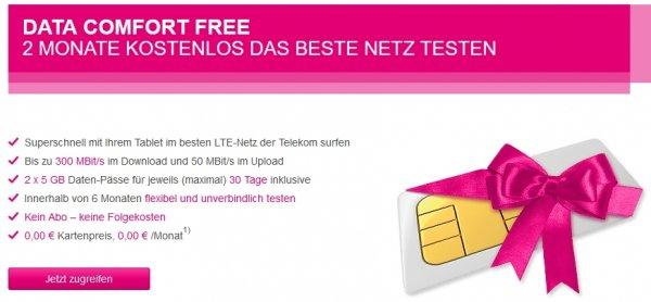 Data Comfort Free - 2 Monate kostenlos das beste Netz testen