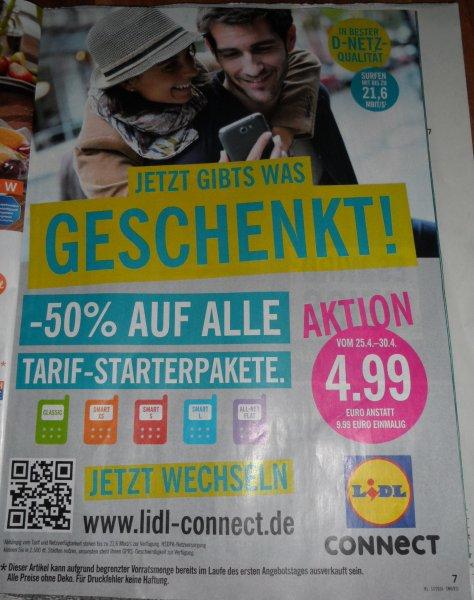 (Lidl Offline Bundesweit) 50% auf ALLE D2 Lidl Connect Prepaid Karten vom 25.-30.04 für 4,99 statt 9,99
