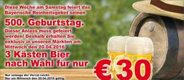 [Lokal] 3 Kisten Bier für 30 Euro Trabold Edeka