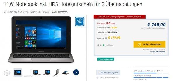 MEDION® AKOYA® S2218 (B-Ware) für 179€ anstatt 249€ inkl. HRS Hotelgutschein für 2 Übernachtungen