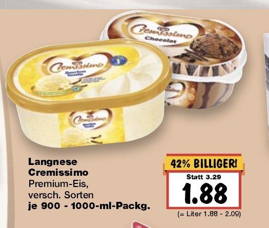 Langnese Cremissimo 900 - 1000-ml-Packg bei Kaufland nur 1,88€