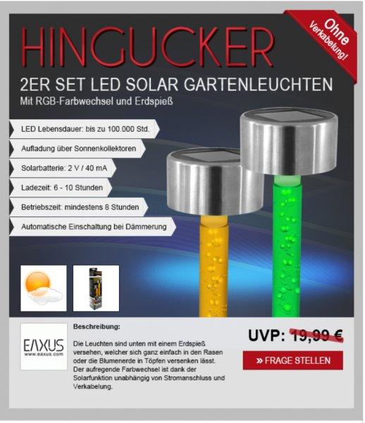2er-Set LED Solar Gartenleuchten für 9,99€ frei Haus [ebay]
