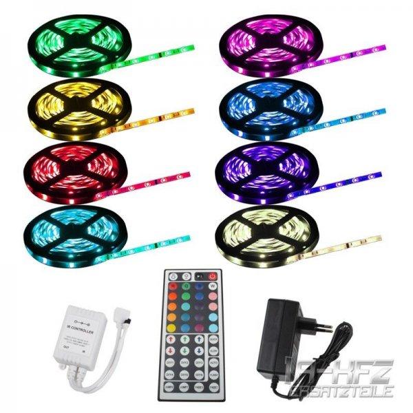 LED STRIP 5M RGB 5050 SMD 60 LEDs/m IP65 44-Keys Fernbedienung + Netzteil+ Trafo