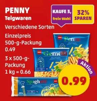 [PENNY] 3x 500gr Nudeln (versch. Sorten) für 0,99€ (je 500gr. 0,33 EUR)