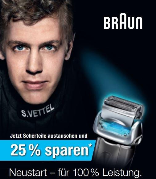 Braun Scherteilwechsel - 25% Cashback vom 20.04. –31.05.2016