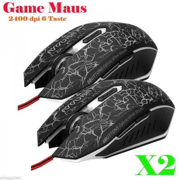 2x 2400dpi USB Gaming Gamer Maus mit 6 Tasten oder 2x 1,8m HDMI Kabel FULL HD 1080P für 1 EURO