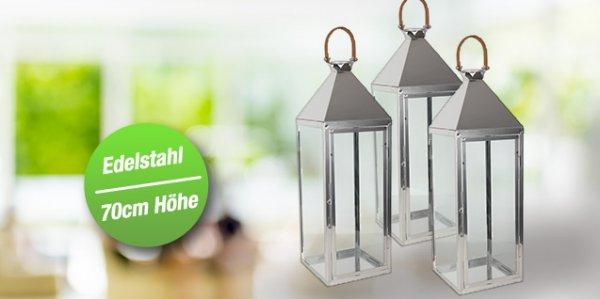 [Daily Deal] 4 Bodenlaternen 70cm aus Edelstahl mit Glaswänden und Kunstledergriff 23x70x23 cm (BxHxT)