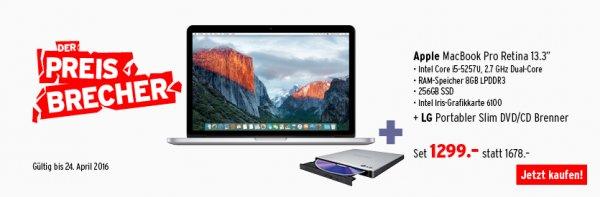 "[GRENZGÄNGER - CH] - Apple MacBook Pro Retina 13,3"", 2,7Ghz, 256 SSD, 8GB RAM + LG Slim DVD Brenner"