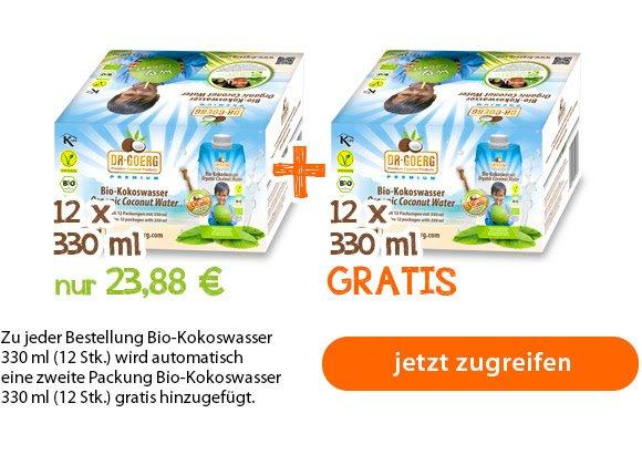 Dr Goerg  -  Bio-Kokoswasser Premium 330 ml (12 Stk.) plus 12 Stk geschenkt = 24 Stk
