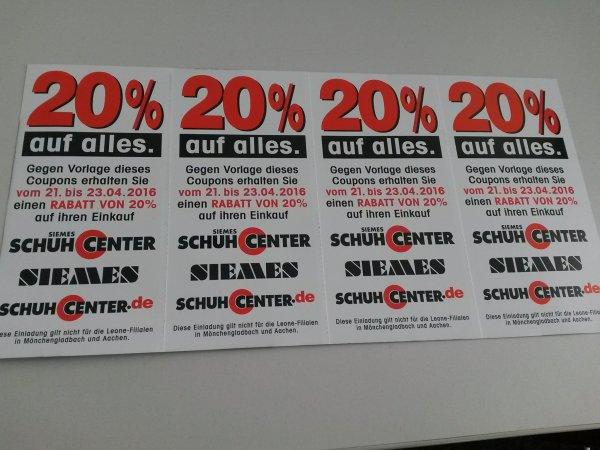 20% Rabatt bei schuhcenter.de - in allen Filialen und Online