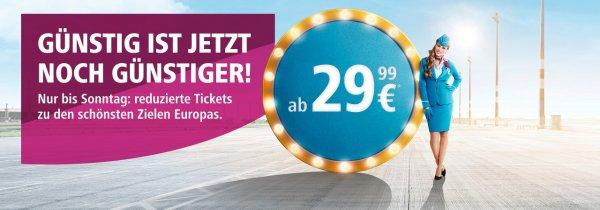 Sale bei Eurowings, europäische Ziele ab 29€ pro einfacher Strecke für Flüge bis zum 25.03.2017, z.B. von Düsseldorf nach Mailand und zurück für 59,98€