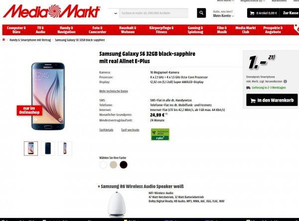 [MediaMarkt] Samsung Galaxy S6 + R6 Wireless Speaker für 1 EUR (mit 24 Monatsvertrag real Allnet E-Plus und 1 GB LTE 24,99 EUR/Monat) -> 640,75 EUR