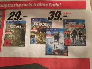 Media Markt (regional Hildesheim?): PS4/Xbox1: Fallout 4: 29€ // FarCry Primal, Star Wars Battlefront & The Division je 39€