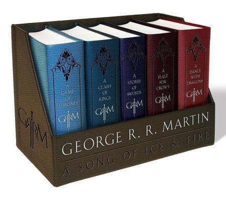 """[Thalia] George R. R. Martin's """"Game of Thrones"""" ledergebundenes Box Set (die ersten 5 Bände = 10 Bände im deutschen) (OT) für 39,62€ *** als Taschenbuchausgabe für 21,45€"""