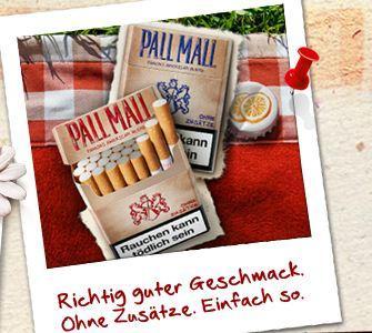 Gratis Pall Mall Ohne Zusätze Blue oder Red 22 Zigaretten Testpäckchen