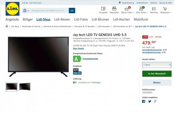 Jay-tech LED TV GENESIS UHD 5.5 / 55 Zoll UHD für den kleinen Geldbeutel 479,- Euro