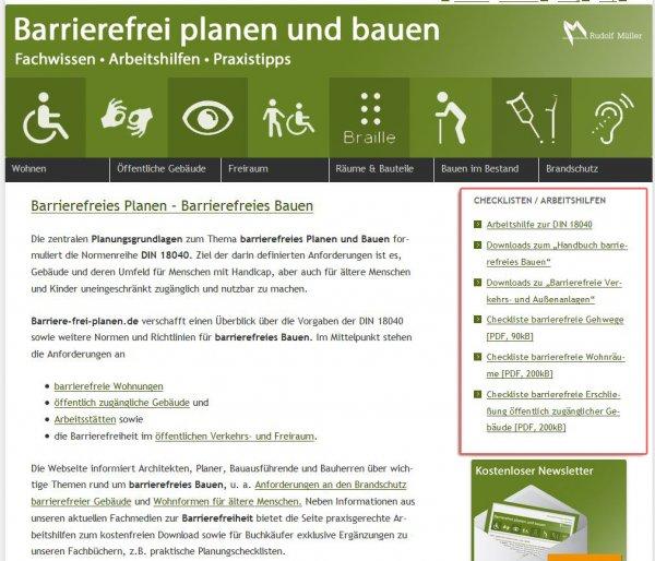 Checklisten zum barrierefreien Planen und Bauen