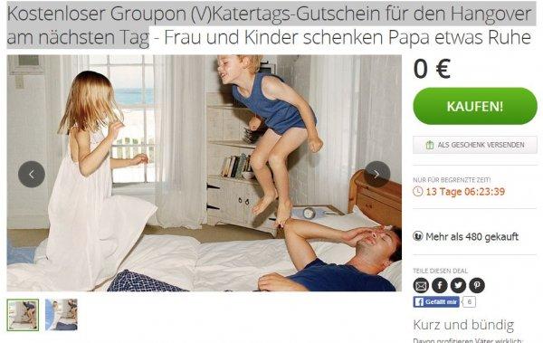 Kostenloser Groupon (V)Katertags-Gutschein für den Hangover am nächsten Tag