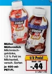 [Bundesweit, Lidl & Kaufland] KW17: Müller Milch -51% [SuperSamstag Angebote] => nur 0,44€.