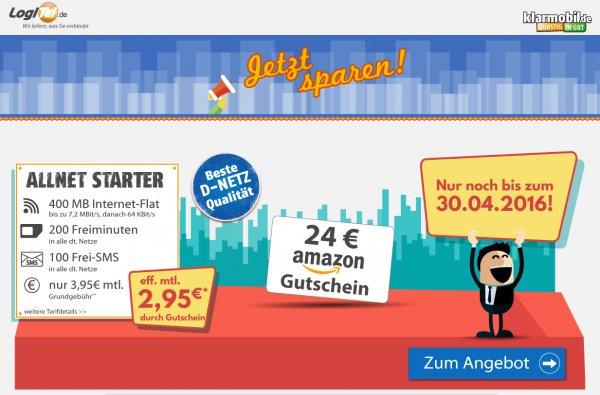 Klarmobil Starter 100sms/200min/400mb durch 24€ Amazon-Gutschein effkt. 2.95€/Monat - Vodafone
