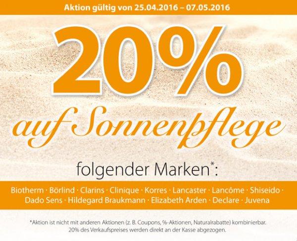20% auf Sonnenpflege (Markenprodukte), Müller Drogerie