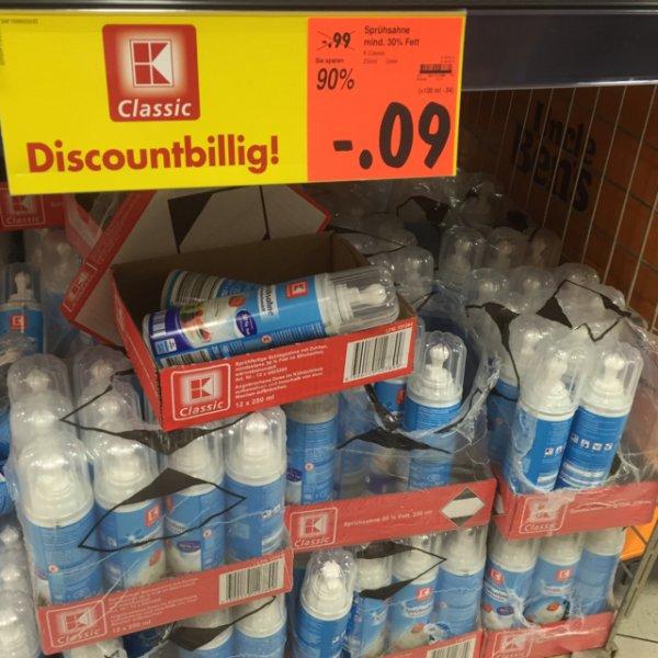 0,09€ Sprühsahne 30% Fett 250ml [Kaufland Velbert]