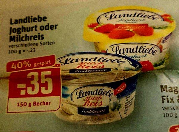 [rewe] KW17: 6x Landliebe Joghurt oder Milchreis 150-g-Becher für 0,18 €/Becher (-63%)