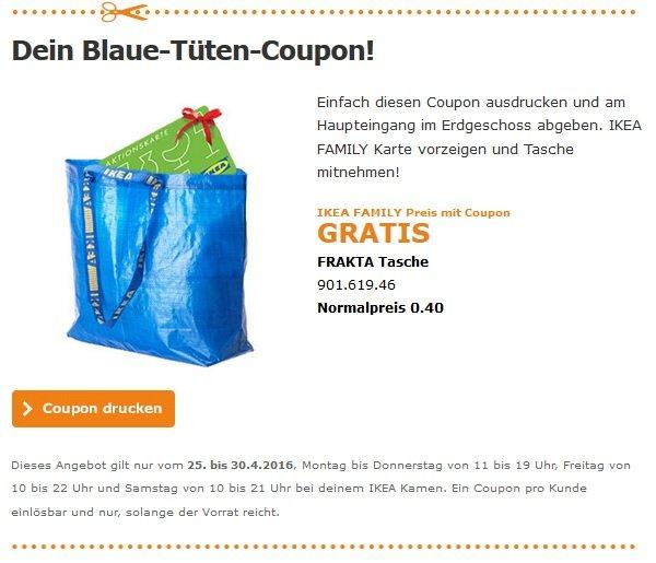 [IKEA FAMILY - Lokal Kamen] Gratis FRAKTA Tasche und eventuell 1 von 1000 Gratis Geschenkkarte
