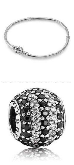 Pandora Armband Sterlingsilber + Charm Zirkonia Element Schwarz und Weiß = 59€ inkl Versand. (nächster Preis >100€)