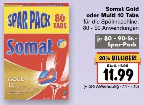 [kaufland] 2x Somat Gold oder Multi 10 Spülmaschinentabs (Sparpack) für 10,99€/Packung (-27%)