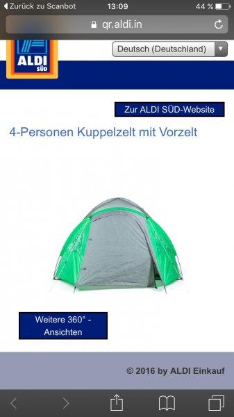 [Aldi Süd] Adventuridge 4 Personen Kuppelzelt (ab dem 30.04)