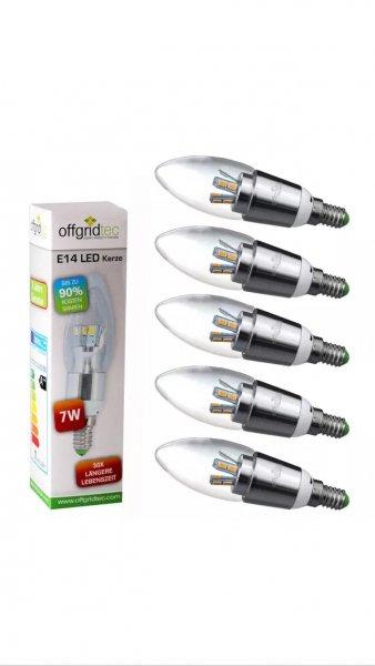 (EBay) 5x Offgridtec® E14 7W LED Kerze Warmweiß 3000K