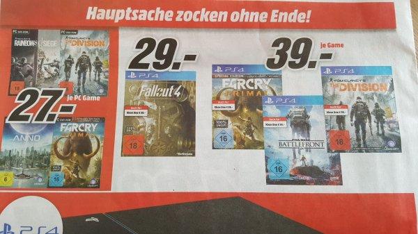 Fallout 4 PS4 für 29€,  The Division 39€ und weitere bei Media Markt Wolfsburg und Hamburg (lokal?)