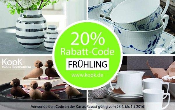 20% auf hochwertige Design & Wohnaccessories  im Onlineshop bei KopK. www.kopk.de/