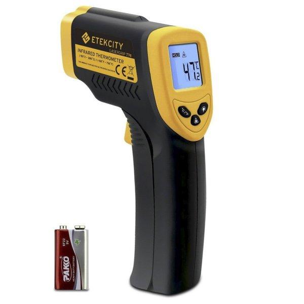 @Amazon: wieder da ... Laser Infrarot Thermometer Pyrometer, - 50 bis + 380 °C, LCD Beleuchtung, Zertifikat: CE, RoHS, Gelb Schwarz für 15,78€ mit Prime