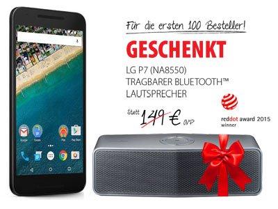 LG Google Nexus 5X 32 GB mit Base Blue All-in M Vertrag und LG P7 Bluetooth Lautsprecher für 1 €