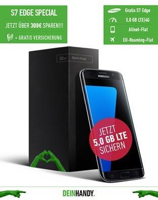 Samsung Galaxy S7 Edge; All-Net; 5 GB LTE; Handyversicherung; 20€ Gutschein