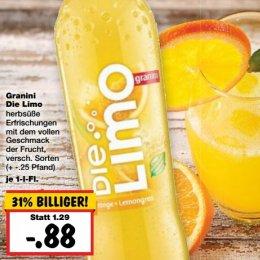 [KAUFLAND HANAU] Granini Die Limo 1,0l versch. Sorten für 0,48€ (Angebot+Coupon)