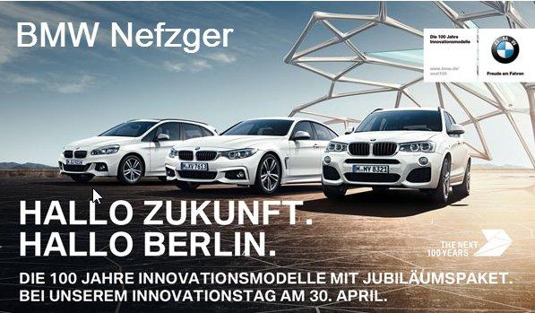 Lokal Berlin: BMW NEFZGER feiert Jubiläum, deshalb erhält man bei Erteilung eines Werkstattauftrags am 30.04.2016 und Fertigstellung bis 30.06.2016 15% Rabatt auf Arbeitsleistung und Material!